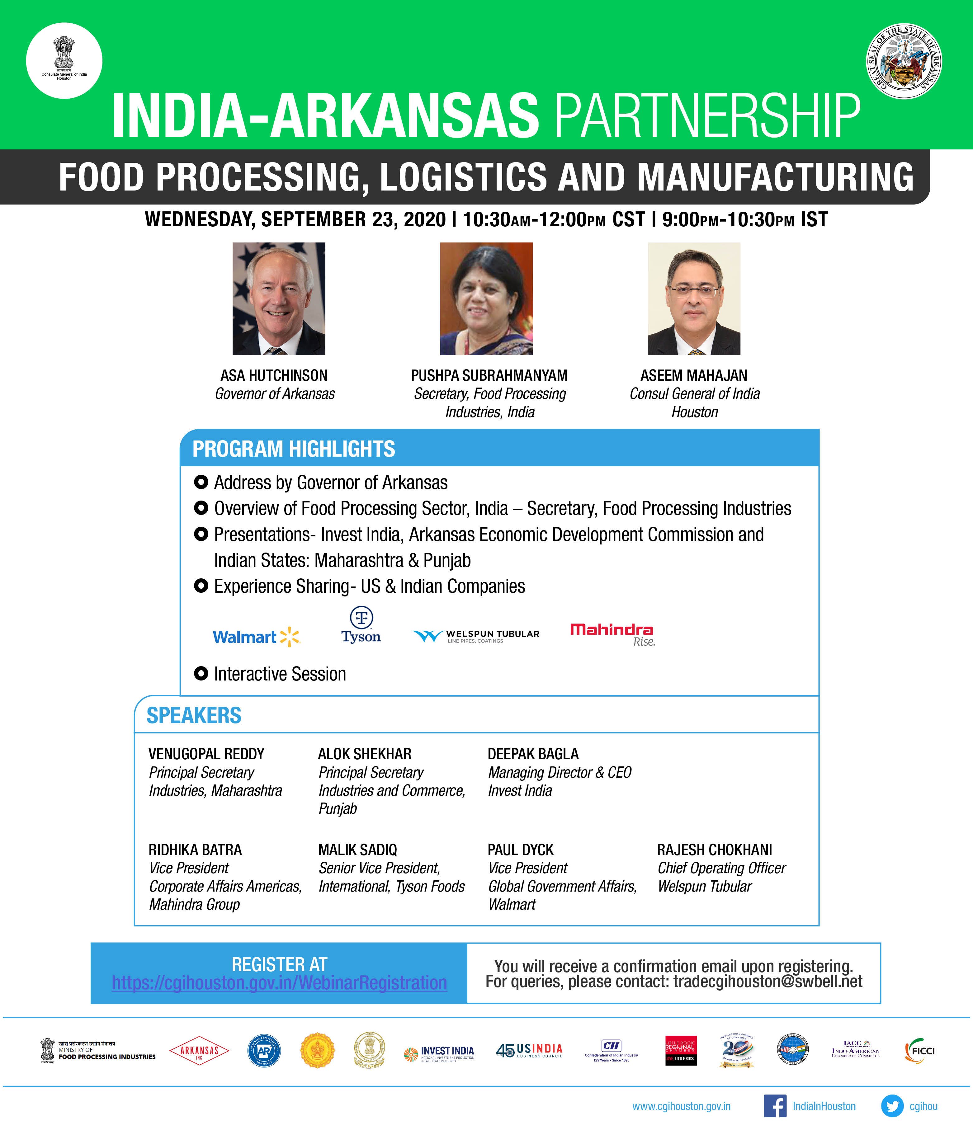 India Arkansas Partnership - Webinar on Food Processing, Logistics and Manufacturing