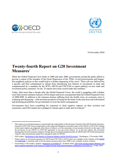 Twenty-fourth Report on G20 Investment Measures