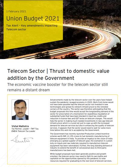Union Budget 2021 - Key amendments impacting Telecom sector
