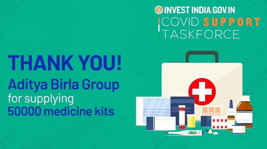 Aditya Birla Grp, in collaboration with Invest India, steps forward to support India's fights against COVID19!