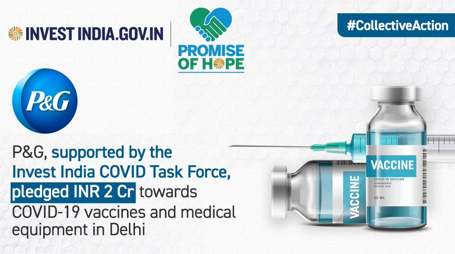 P&G, Supported by the Invest India COVID Task Force, Pledged INR 2 Cr towards COVID-19 vaccines and medical equipment in Delhi