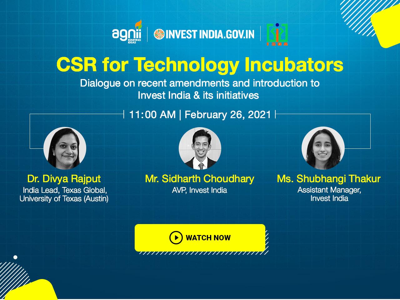 CSR for Technology Incubators