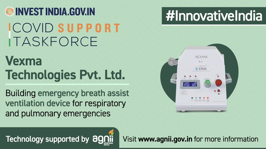 Vexma Technologies Pvt. Ltd. building critical care equipment to support India's fight against COVID19!