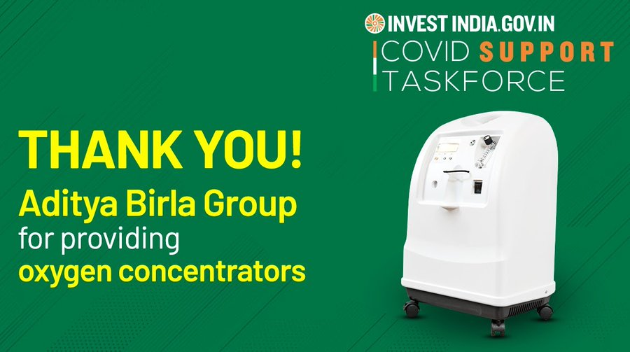 Aditya Birla Group, facilitated by Invest India, is reinforcing India's COVID19 relief efforts!