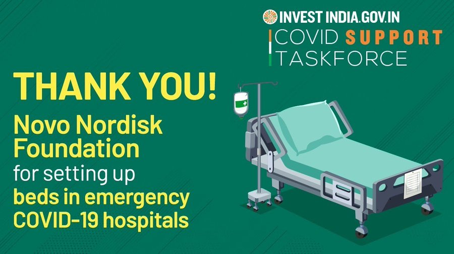 Novo Nordisk Foundation, supported by Invest India, is bolstering India's healthcare infrastructure amid the ongoing COVID19 pandemic!
