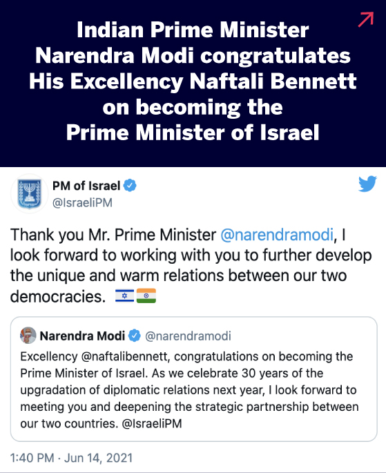 Indian Prime Minister Narendra Modi congratulates His Excellency Naftali Bennett on becoming the Prime Minister of Israel