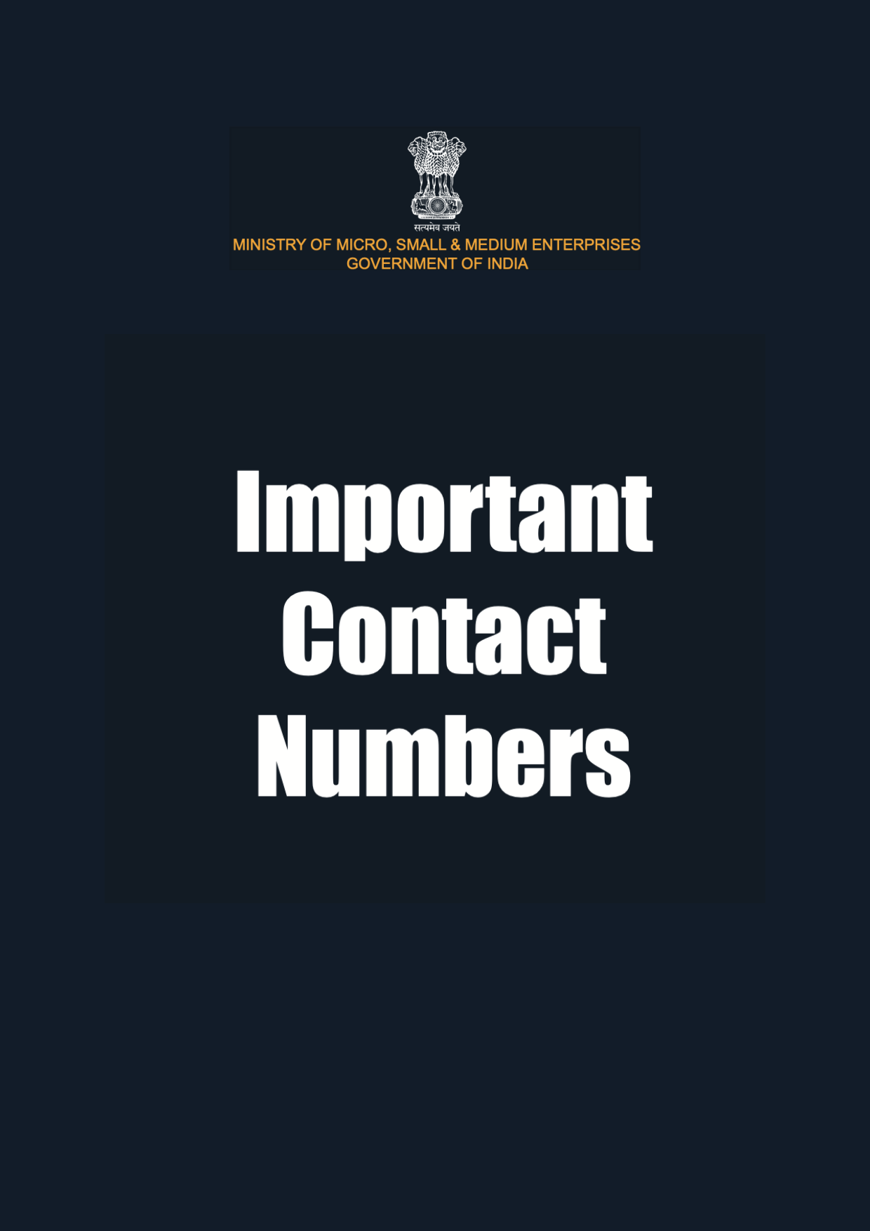 Schemes for MSMEs - Important Contacts