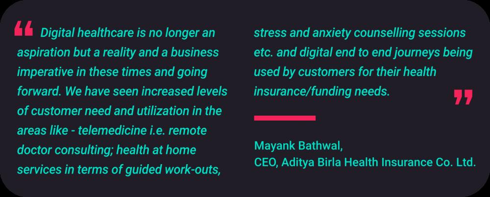 Mayank Bathwal. Chief Executive Officer at Aditya Birla Health Insurance