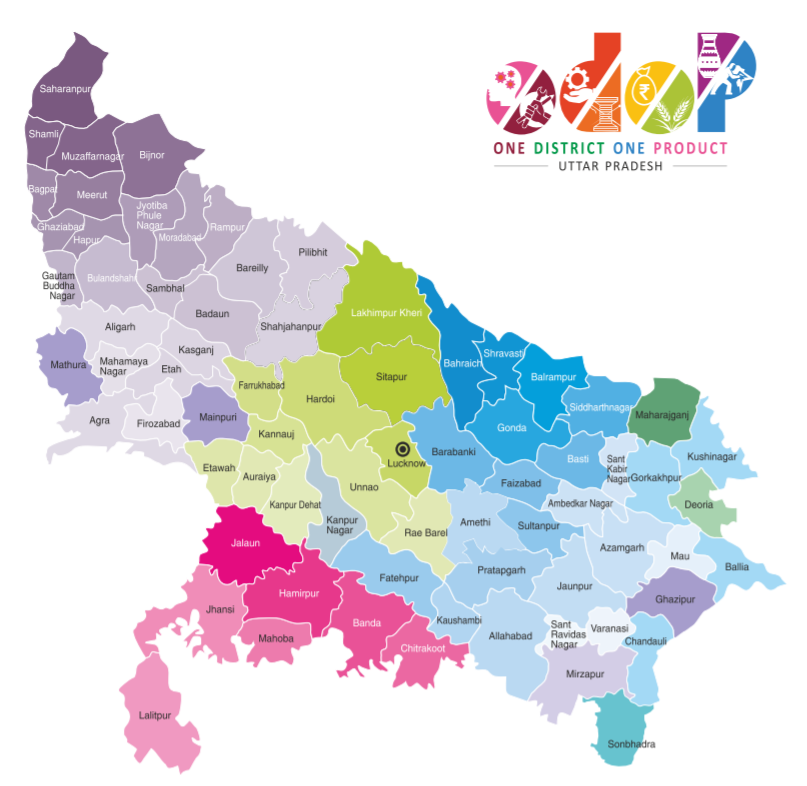 Uttar Pradesh District Map - ODOP (One District One Product)
