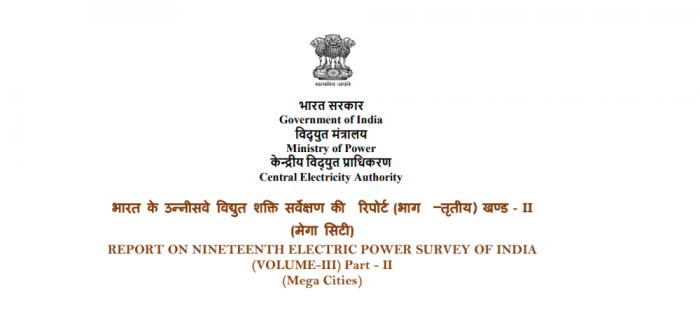 Report on Nineteenth Electric Power Survey of India (Mega Cities)
