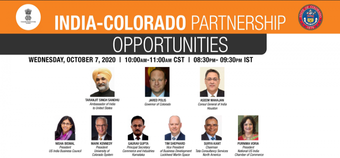 India - Colorado Partnership Opportunities, 7 October 2020, 8.30 PM - 9.30 PM (10 AM - 11 AM)