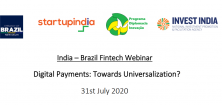 India-Brazil FinTech Webinar: Digital Payments: Towards Universalization?, 31 July 2020